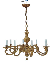 Large vintage 8 lamp ormolu brass chandelier