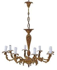 Vintage 8 lamp ormolu brass bronze chandelier