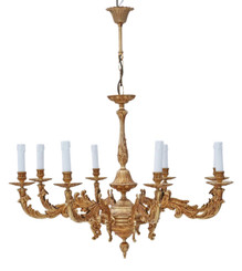 Vintage 8 lamp arm brass ormolu chandelier