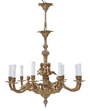 Vintage ormolu brass 9 arm/lamp chandelier