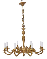 Vintage ormolu brass 8 arm lamp chandelier