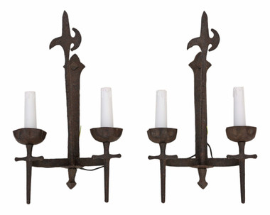 Pair of large 2 lamp wrought iron wall light