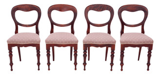Set of 4 Victorian C1890 mahogany balloon back dining chairs