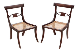 Pair of Regency C1825 mahogany cane dining chairs