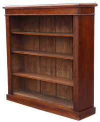 Victorian adjustable mahogany open bookcase