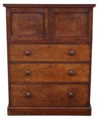 Victorian figured walnut cupboard on chest housekeeper's