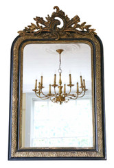French gilt and ebonised overmantle wall mirror