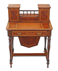 Victorian burr walnut work table box