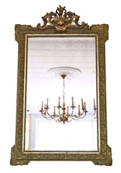 Victorian French overmantle or wall mirror