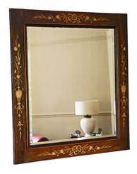Victorian inlaid rosewood overmantle or wall mirror