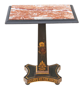Georgian ebonised decorated side occasional table marble