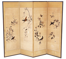 Victorian Chinoiserie birds oak framed dressing screen