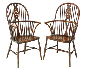 Pair of Trevor Page ash & elm Windsor armchairs