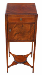 Georgian inlaid mahogany bedside table washstand