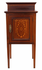 Edwardian C1910 inlaid mahogany bedside table
