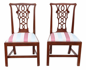 Pair of Georgian mahogany Chippendale style dining chairs