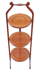 Edwardian folding in laid mahogany folding cake stand