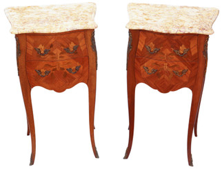 Pair of French inlaid marquetry bedside tables cupboards