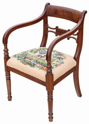 Regency mahogany elbow desk carver chair