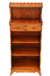 Large yew and softwood waterfall bookcase display shelves