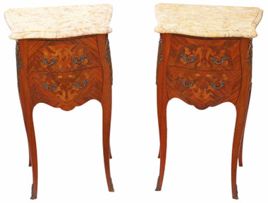 Pair of French inlaid marquetry marble bedside tables