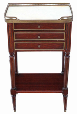 French mahogany marble bedside table