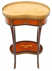 French inlaid marquetry marble bedside table