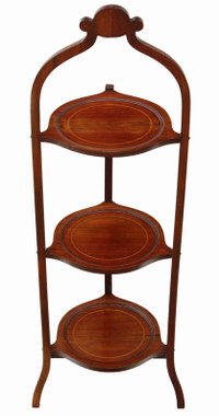 Edwardian folding inlaid mahogany folding cake stand