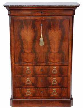 Flame mahogany bureau abattant desk chest of drawers
