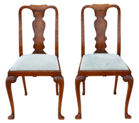 Pair of queen anne revival walnut dining hall bedroom chairs