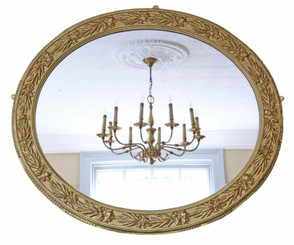 Large oval mid 19th Century Victorian gilt overmantle wall mirror
