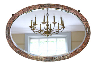 Oval Art Nouveau copper and brass wall overmantle mirror C1910