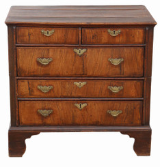 Georgian and later crossbanded walnut oak chest of drawers 18th Century