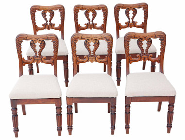 Set of 6 William IV carved mahogany dining chairs C1830