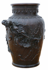 Antique fine quality Japanese 19th Century bronze vase C1850.