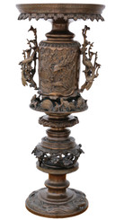 Antique quality Japanese tall decorative bronze vase display stand, meiji period.