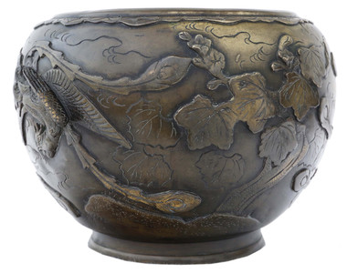 Antique large Oriental Early 20C bronze jardiniere planter.
