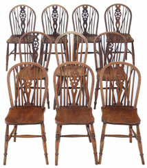 Antique harlequin set of 10 ash elm beech kitchen dining chairs 19th Century
