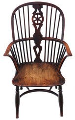 Antique early 19th Century yew & elm Windsor chair dining armchair