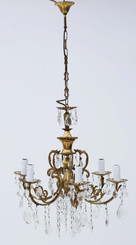 Large antique vintage ormolu brass 6 arm/lamp crystal chandelier
