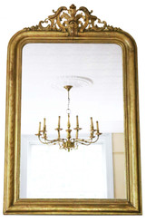 Antique very large quality 19th Century gilt wall mirror overmantle