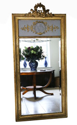 Antique large quality 19th Century gilt full height wall mirror trumeau