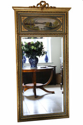 Antique large quality gilt full height wall mirror trumeau 19th Century