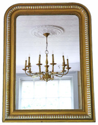 Antique large 19th Century silver gilt and gold finish overmantle wall mirror