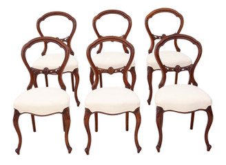 Set of 6 Victorian C1870 walnut balloon back dining chairs