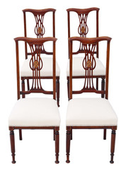 Set of 4 Victorian C1900 Art Nouveau inlaid mahogany dining chairs