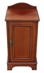 Edwardian inlaid mahogany bedside table cupboard cabinet