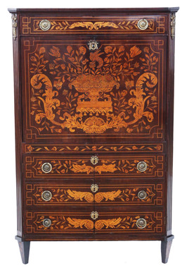 19th Century Dutch Marquetry bureau abattant secretaire desk