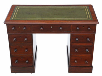Victorian mahogany twin pedestal desk dressing writing table