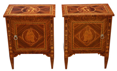 Pair of marquetry bedside tables cupboards mid-century